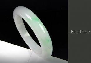ミャンマー産天然無処理翡翠 バングル ブレスレット ホワイト 薄明緑