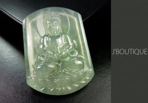 ミャンマー産天然無処理翡翠 仏像 観音様 インテリア 手石 ペンダント 微青緑 玻璃冰