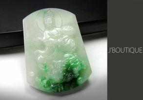 ミャンマー産天然無処理翡翠 仏像 文殊菩薩 プレート ペンダント 手石 ホワイト 薄緑 明緑