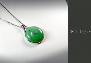 ミャンマー産天然無処理翡翠 ジュエリー ペンダント ボタン アップルグリーン K18ホワイトゴールド