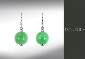 ミャンマー産天然無処理翡翠 ボール 珠 ジュエリー ピアス 若緑 K18 ホワイトゴールド ダイヤモンド