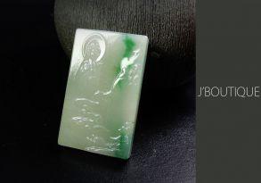 ミャンマー産天然無処理翡翠 仏像 観音様 ペンダント インテリア 手石 ホワイト 明緑