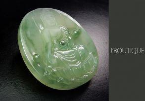 ミャンマー産天然無処理翡翠 仏像 釈迦 オーナメント ペンダント 手石 薄青緑 苔緑 冰