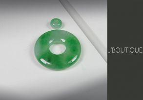 ミャンマー産天然無処理翡翠 玉環 ビーズ ペンダント 手石 明緑 ホワイト 冰