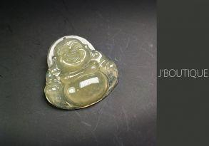 ミャンマー産天然無処理翡翠 仏像 布袋様 ペンダント 手石 インテリア 黄翡 冰