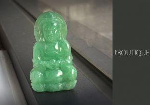 ミャンマー産天然無処理翡翠 仏像 観音様 ペンダント 手石 インテリア アップルグリーン 冰
