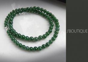 ミャンマー産天然無処理翡翠 ビーズ 珠 ネックレス 艶緑 濃緑