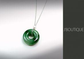 ミャンマー産天然無処理翡翠 玉環 ジュエリー ペンダント 明緑 艶緑 K18 ホワイトゴールド パール