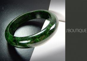 ミャンマー産天然無処理翡翠 バングル ブレスレット 艶緑 墨翠