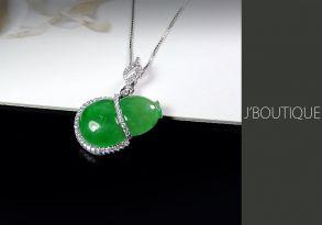 ミャンマー産天然無処理翡翠 ひょうたん 瓢箪 ジュエリー ペンダント ネックレス 明緑 冰 K18 ホワイトゴールド ダイヤモンド