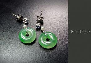 ミャンマー産天然無処理翡翠 玉環 ジュエリー ピアス 明緑 薄緑 冰 K18 ホワイトゴールド パール サファイヤ