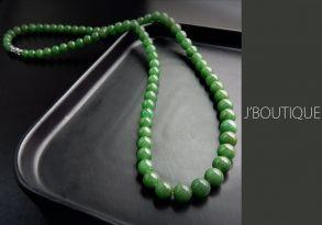 ミャンマー産天然無処理翡翠 ビーズ 珠 ネックレス 明緑 艶緑