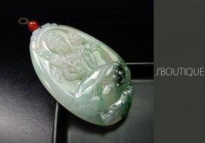 ミャンマー産天然無処理翡翠 仏像 菩薩様 オーナメント 手石 ペンダント オフホワイト 薄青緑 濃緑 冰