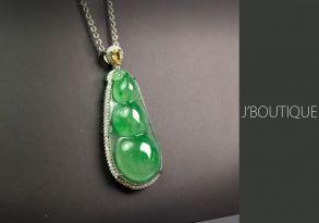 ミャンマー産天然無処理翡翠 豆 ジュエリー ペンダント 明緑 冰 K18 ホワイトゴールド ダイヤモンド イエローダイヤモンド