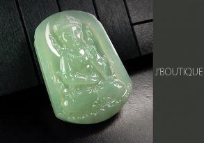 ミャンマー産天然無処理翡翠 仏像 菩薩様 オーナメント 手石 ペンダント 淡緑 冰