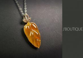 ミャンマー産天然無処理翡翠 葉っぱ ジュエリー ペンダント 黄翡 冰 K18 ローズゴールド ダイヤモンド