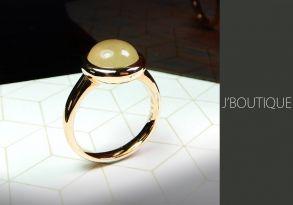 ミャンマー産天然無処理翡翠 カボッション ジュエリー リング 指輪 黄翡 冰 K18 ローズゴールド
