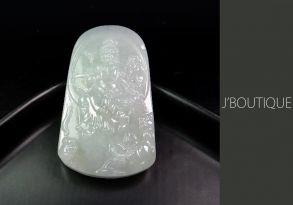 ミャンマー産天然無処理翡翠 仏像 観音様 オーナメント ペンダント 手石 ホワイト 冰