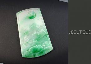 ミャンマー産天然無処理翡翠 山水 オーナメント 手石 ペンダント ホワイト 薄緑