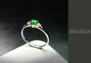 ミャンマー産天然無処理翡翠 カボッション ジュエリー リング 翠緑 冰 K18 ホワイトゴールド ダイヤモンド
