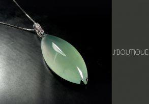 ミャンマー産天然無処理翡翠 ジュエリー ペンダント 微青緑 冰 K18 ホワイトゴールド ダイヤモンド