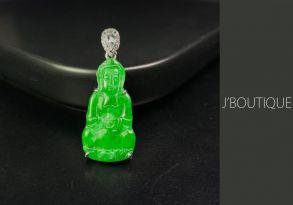 ミャンマー産天然無処理翡翠 仏像 観音様 ジュエリー ペンダント 明緑 K18 ホワイトゴールド サファイヤ ダイヤモンド