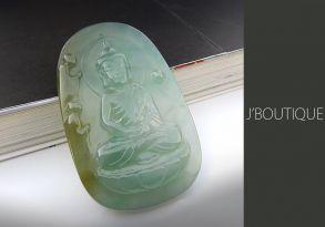 ミャンマー産天然無処理翡翠 仏像 お釈迦さま インテリア 手石 ペンダント 薄青緑 黄翡 冰
