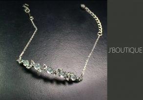 ミャンマー産天然無処理翡翠 植物 ジュエリー ブレスレット 玻璃冰 K18 ホワイトゴールド ダイヤモンド