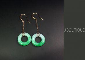 ミャンマー産天然無処理翡翠 玉環 ジュエリー ピアス 明緑 ホワイト K18 イエローゴールド