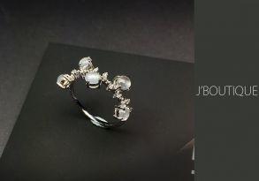 ミャンマー産天然無処理翡翠 カボッション ジュエリー リング 指輪 玻璃冰 K18 ホワイトゴールド ダイヤモンド