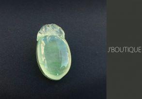 ミャンマー産天然無処理翡翠 桃 ピーチ 猿 サル ペンダント 手石 インテリア 薄緑 玻璃冰