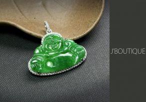 ミャンマー産天然無処理翡翠 仏像 布袋様 ジュエリー ペンダント 明緑 冰 K18 ホワイトゴールド ダイヤモンド