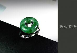 ミャンマー産天然無処理翡翠 玉環 ジュエリー リング 指輪 艶緑 K18 ホワイトゴールド