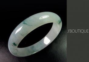 ミャンマー産天然無処理翡翠 バングル ブレスレット オフホワイト 濃青緑 冰