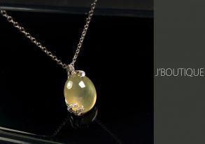ミャンマー産天然無処理翡翠 ジュエリー ペンダント 黄翡 冰 K18 ホワイトゴールド ダイヤモンド