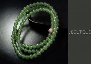 ミャンマー産天然無処理翡翠 ビーズ 珠 ネックレス 艶緑 濃緑 冰