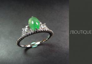 ミャンマー産天然無処理翡翠 カボッション ジュエリー リング 指輪 明緑 冰 K18 ホワイトゴールド サファイヤ ダイヤモンド