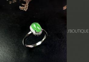 ミャンマー産天然無処理翡翠 カボッション ジュエリー リング 指輪 明緑 冰 K18 ホワイトゴールド ダイヤモンド