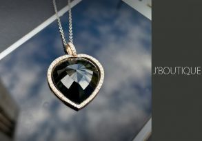ミャンマー産天然無処理翡翠 ハート ジュエリー ペンダント 墨翠 K14 ローズゴールド ダイヤモンド