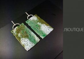 ミャンマー産天然無処理翡翠 ジュエリー ピアス 明緑 苔緑 淡緑 K18 ホワイトゴールド ダイヤモンド