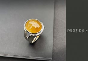 ミャンマー産天然無処理翡翠 黄翡 ジュエリー リング 指輪 カボッション 冰 K18 ホワイトゴールド ダイヤモンド