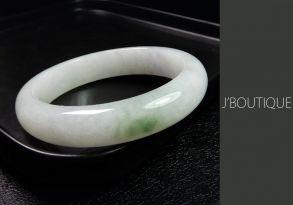 ミャンマー産天然無処理翡翠 バングル ブレスレット ホワイト 苔緑 冰