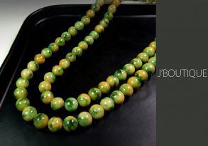 ミャンマー産天然無処理翡翠 ビーズ ネックレス 黄翡 濃緑