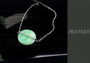 ミャンマー産天然無処理翡翠 コイン ジュエリー ブレスレット 淡緑 アップルグリーン K18 ホワイトゴールド ダイヤモンド