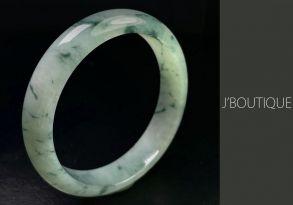 ミャンマー産天然無処理翡翠 バングル ブレスレット オフホワイト 薄緑 濃緑 冰