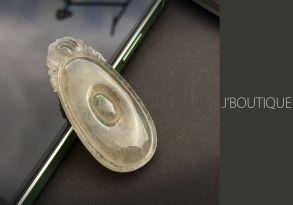ミャンマー産天然無処理翡翠 吉祥 福 ペンダント 手石 インテリア ホワイト 玻璃冰