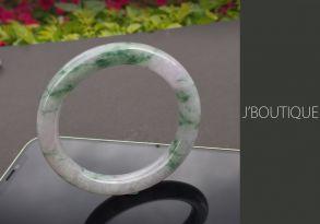 ミャンマー産天然無処理翡翠 バングル ブレスレット 淡ラベンダー オフホワイト 濃緑