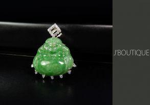 ミャンマー産天然無処理翡翠 仏像 布袋様 ジュエリー ペンダント 緑 薄緑 冰 K18 ホワイトゴールド ダイヤモンド
