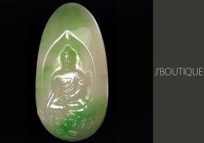 ミャンマー産天然無処理翡翠 仏像 お釈迦様 インテリア 手石 ペンダント オフホワイト 薄明緑