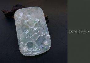 ミャンマー産天然無処理翡翠 蓮花 とんぼ ペンダント 手石 インテリア ホワイト 冰